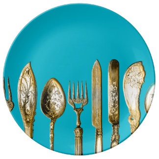 Knife fork spoon gold turquoise plate
