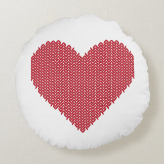 Knitted Heart Pillow Round Cushion