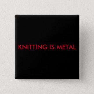 Knitting is Metal Square Pin