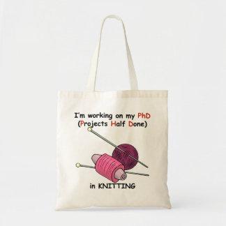 Knitting PhD Canvas Bags