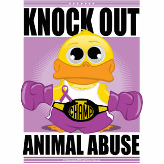 Knock OUT Animal Abuse Standing Photo Sculpture