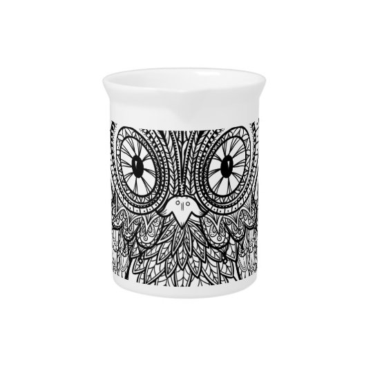 Knotted Mandala Owl Black and White Pitcher