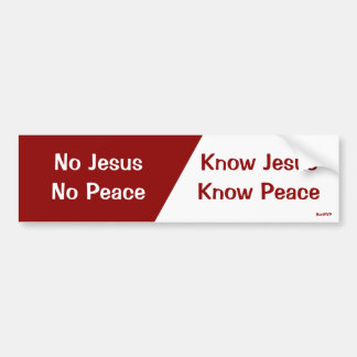Know Jesus, Know Peace Bumper Sticker