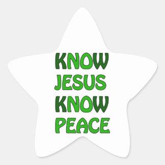 Know Jesus Know Peace No Jesus No Peace Dark Green Star Sticker