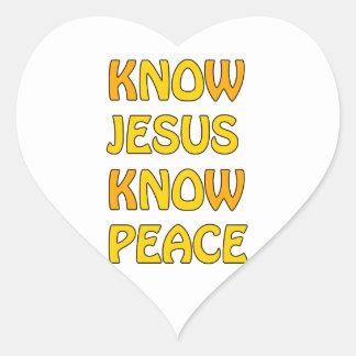 Know Jesus Know Peace No Jesus No Peace In A Orang Heart Sticker