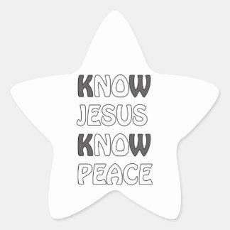 Know Jesus Know Peace No Jesus No Peace In A White Star Sticker