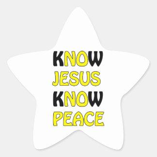 Know Jesus Know Peace No Jesus No Peace In A Yello Star Sticker
