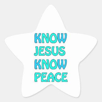 Know Jesus Know  Peace No Jesus No Peace Light Blu Star Sticker