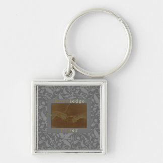 Knowledge Is Power Silver-Colored Square Key Ring