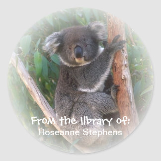 Koala Bear Bookplate Sticker