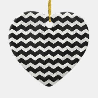 Kohl Black Chevron Pattern Ceramic Heart Decoration