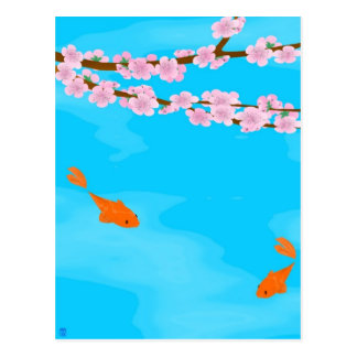 Koi and Sakura Postcard