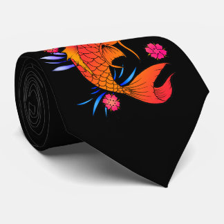 koi fish and flowers tie