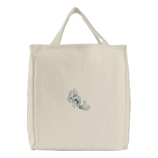 Koi fish embroidered reusable canvas tote bag