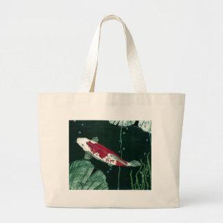 Koi Fish In Pond Large Tote Bag