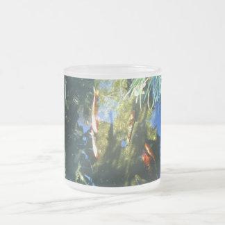 Koi fish frosted glass mug