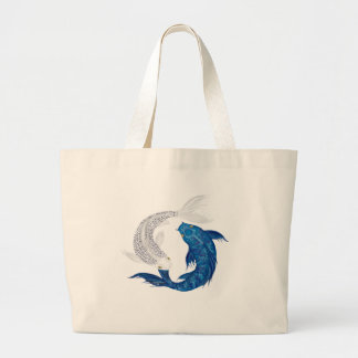 Koi Regal Blue Ghost silver Large Tote Bag