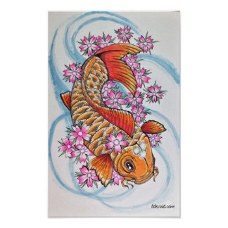 Koi with cherry blossoms poster