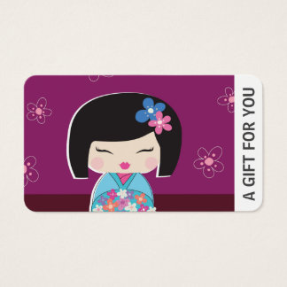 Kokeshi Doll Gift Card, Certificate, D8-052115 Business Card