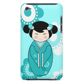 Kokeshi Style Doll Illustration in Blues iPod Touch Case