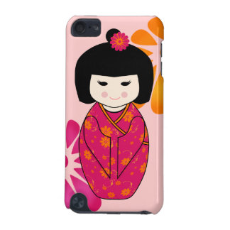 Kokeshi Style Doll Illustration with Floral Kimono iPod Touch (5th Generation) Covers