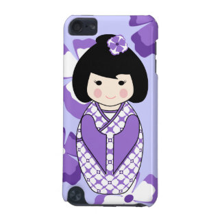 Kokeshi Style Doll Illustration with Floral Kimono iPod Touch (5th Generation) Cases