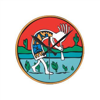 Kokopelli Man Round Clock