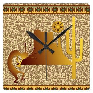 Kokopelli Mesa & Cactus Set #1 Square Wall Clock