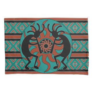 Kokopelli Southwest Design Turquoise Pillowcase