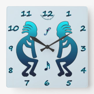 Kokopelli with Musical Notes Square Wall Clock
