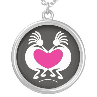 Kokopelli with pink heart Valentine's day Silver Plated Necklace