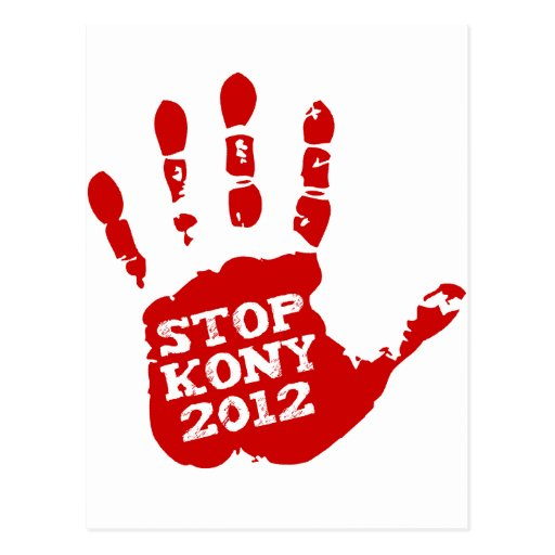 Kony 2012 Handprint Stop Joseph Kony Post Cards