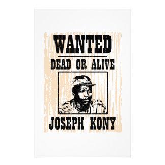 Kony 2012 Joseph Kony Wanted Poster Personalized Stationery
