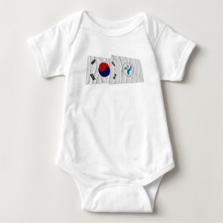 Korea and Seoul Waving Flags Baby Bodysuit