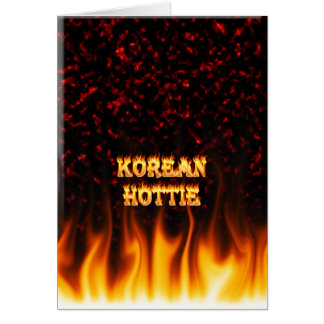 Korean Hottie fire and flames Red marble. Card