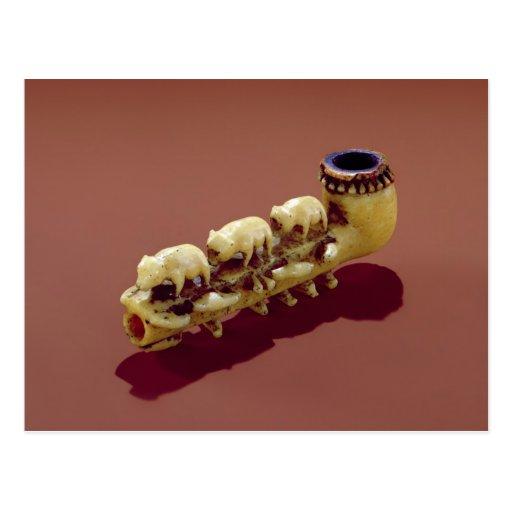 Korvack pipe with carved Polar Bears Postcard