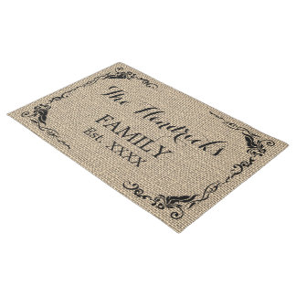 Kraft Beige Brown Faux Jute Texture Family Name Doormat