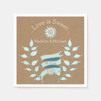 Kraft Paper Blue Floral Wedding Paper Napkins