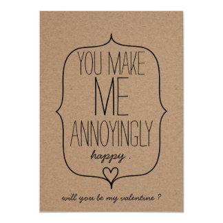 Kraft Paper Cute Heart Funny Valentines Day 13 Cm X 18 Cm Invitation Card