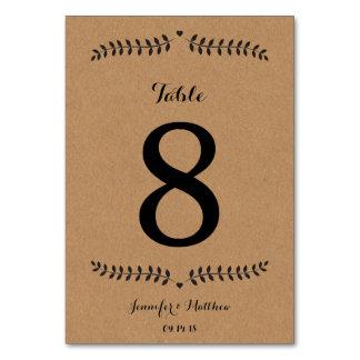 Kraft Table Number / Wedding Table Number Kraft Table Cards