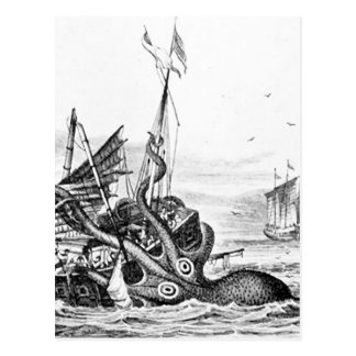 Kraken/Octopus Eatting A Pirate Ship, Black/White Postcard