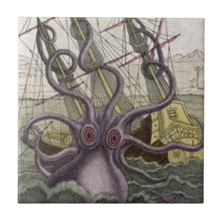 Kraken Octopus Eatting A Pirate Ship Color Tile