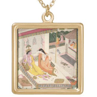 Krishna and Radha on a bed in a Mogul palace, Punj Gold Plated Necklace