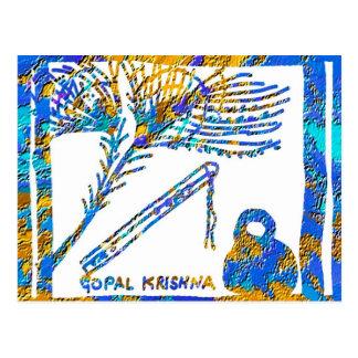 Krishna - Flute, Peacock Feather n Buttermilk Postcard