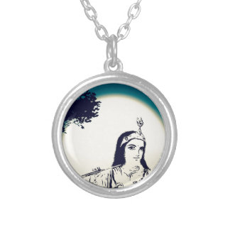 Krishna Plays Flute Silver Plated Necklace