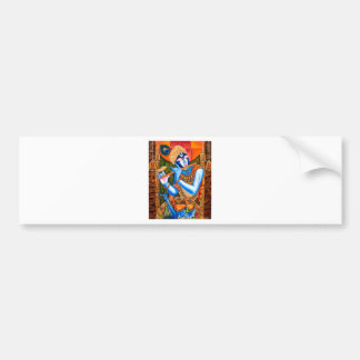 KRISHNA THE FLUTE PLAYER INDIAN ABSTRACT BUMPER STICKER