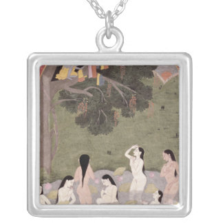 Krishna with the Cow Girls' clothes, Silver Plated Necklace