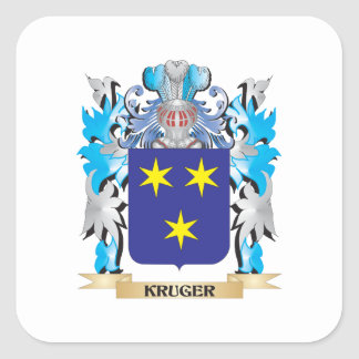 Kruger Coat of Arms - Family Crest Square Sticker
