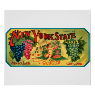 KRW CUSTOM NY State Grapes Vintage Crate Label Print