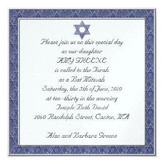 KRW Custom Star of  David Bat Mitzvah Invitation